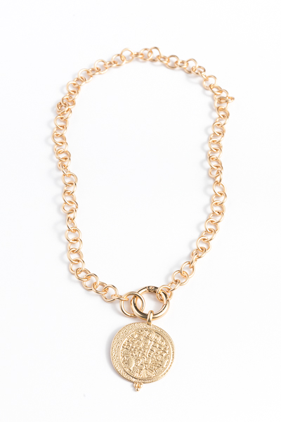 Textured Disc Chain Necklace, Gold