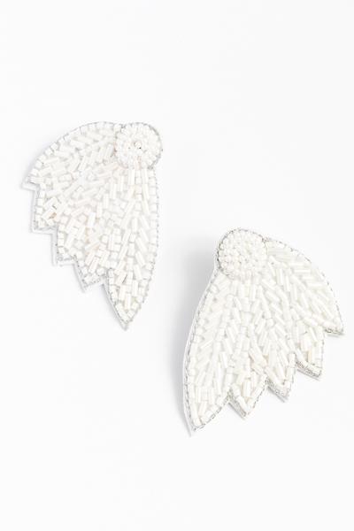 Bugle Leaf Earring, White