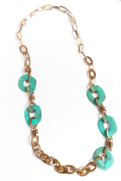 Acrylic Long Necklace, Tortoise