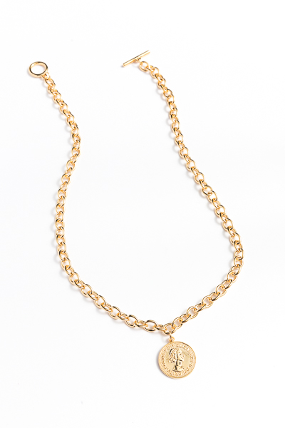 Elizabeth Coin Toggle Necklace, Gold