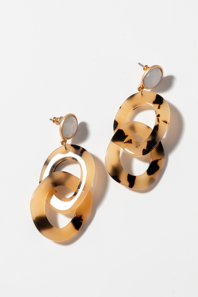 White Stud Tortoise Earrings