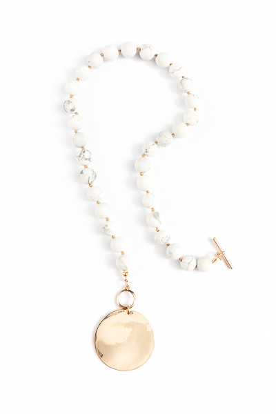 Stone Beads & Gold Disc, Ivory