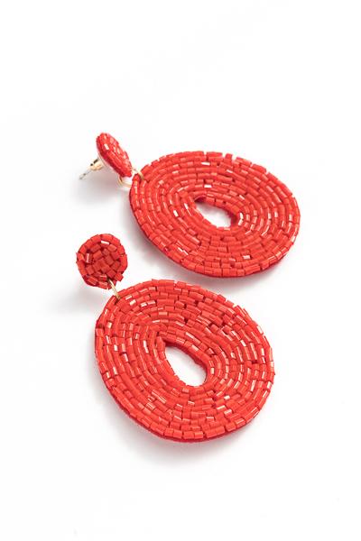 Beaded Oval Earrings, Red