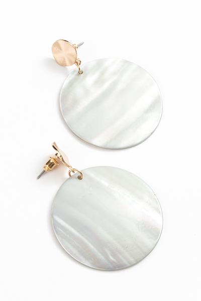 Circle Shell Dangle Earrings, Gray