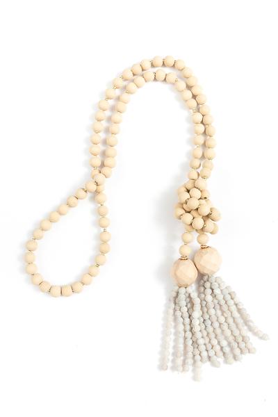 Beaded Tassel Necklace, Grey