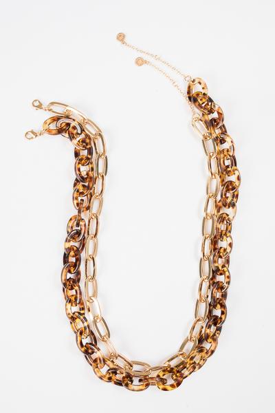 Acrylic Duo Necklace, Tortoise