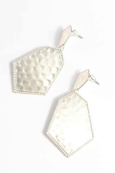 Hammered Hex Earring, Silver