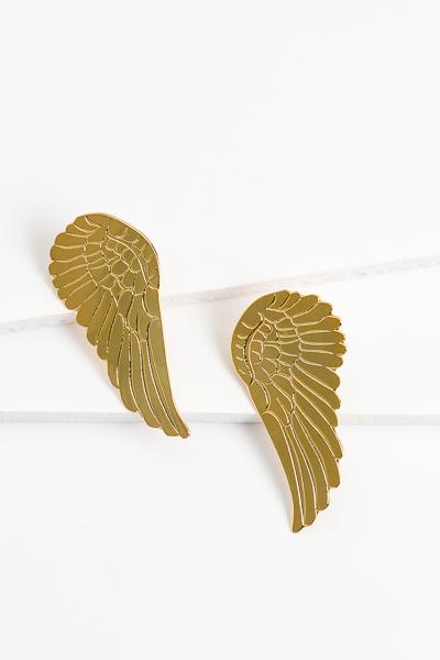 Golden Angel Wings Earring