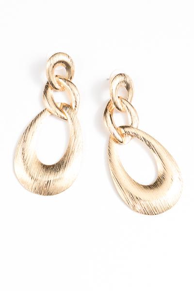 Textured Chain Teardrop Earring, Gold