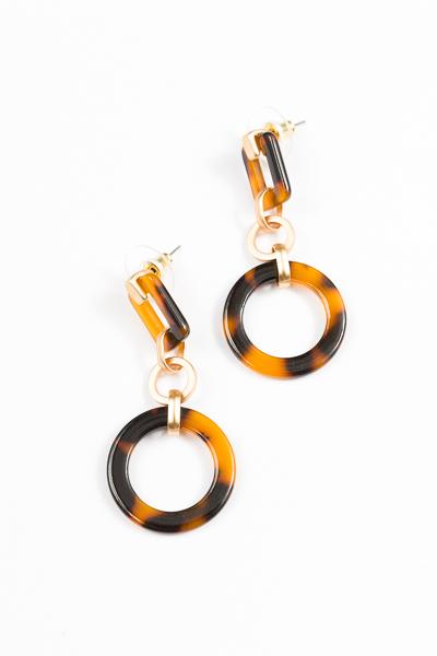 Acrylic Rectangle Earring, Brown