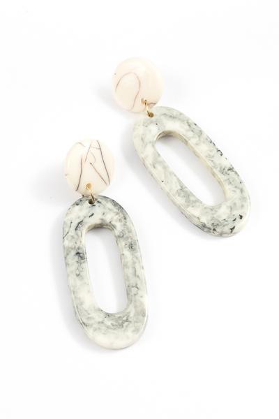 Acrylic Marble Oval Earring