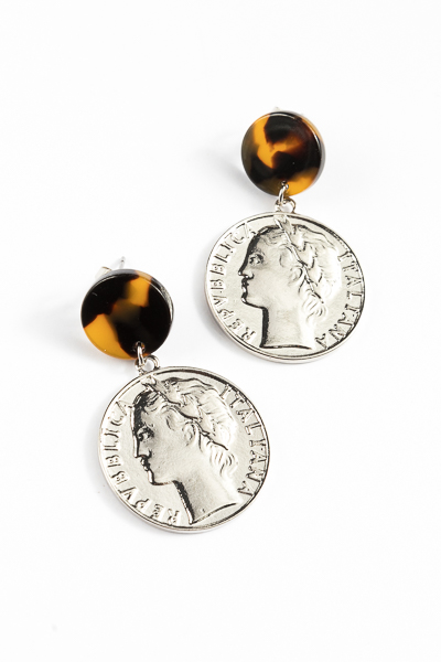 Coin Post Earring, Silver