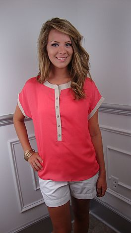 Coral Colorblock Top