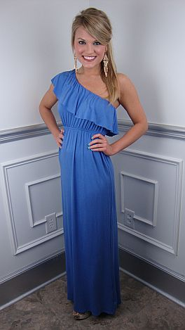 Ruffle One Shoulder Maxi, Periwinkle