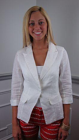 Crisp Linen Blazer, White