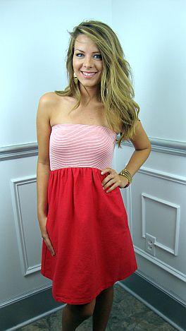 Linen Tube Dress, Red