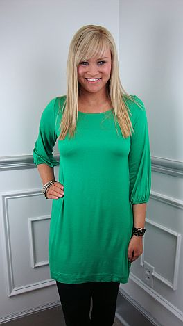 Basic Boatneck Tunic, Green