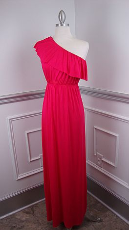 Ruffle One Shoulder Maxi, Pink