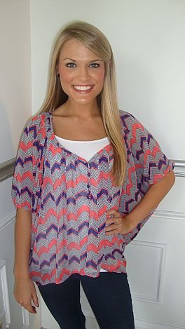 Royal Coral Poncho Style Top