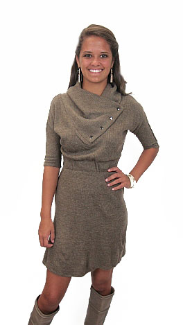 Rolo Sweater Dress, Taupe