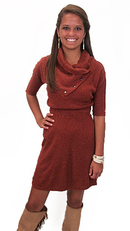 Rolo Sweater Dress, Rust