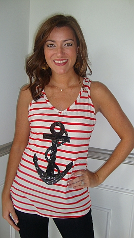 Red Stripe Anchor Tank