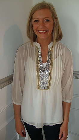 Tory Sequined Placket Blouse