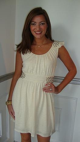 Stud Sides Cream Knit Dress