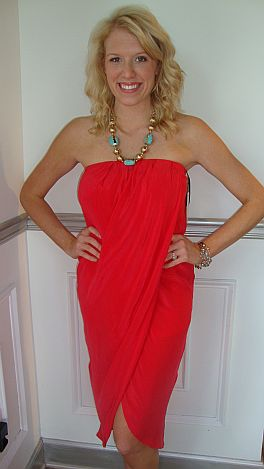 Head-Turner Red Strapless Dress