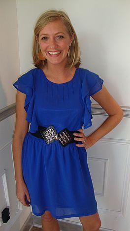 Solid Sapphire Flutter Dress