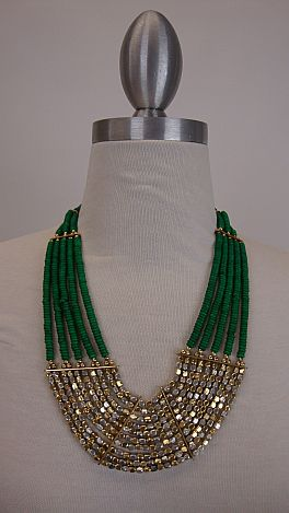 The Indian Gold Big Necklace, Green