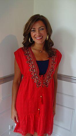 Red Ethnic Deep V Dress
