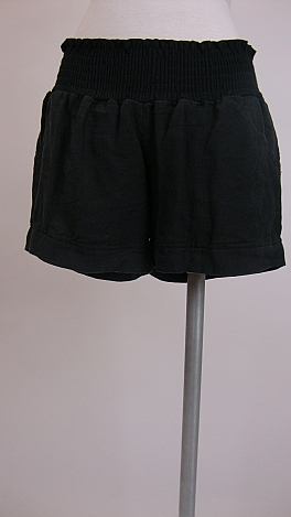 Smocked Linen Shorts, Black