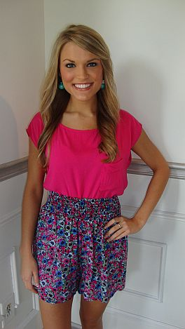 Pink  Flower Shorts