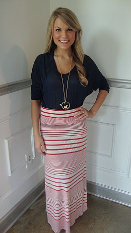Salmon Stripe Maxi Skirt