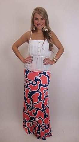 Squiggle Print Maxi Skirt