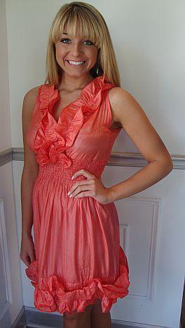 Flouncy Hem Shimmer Coral Dress