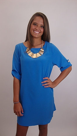 Keeping Tabs Dress, Blue