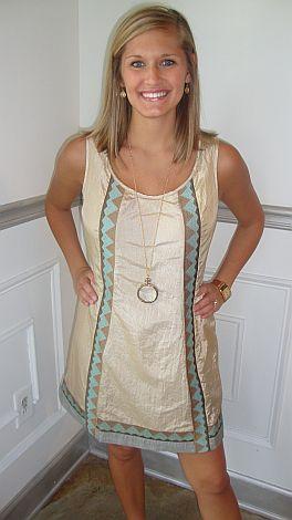 Nellie Gold Shift Dress