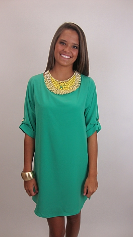 Keeping Tabs Dress, Green