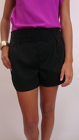 Crochet Waist Shorts, Black