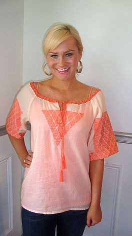 Peach Punch Embroidery Top