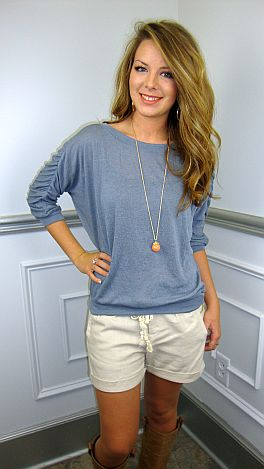 Ruched Sleeve Sweater, Blue