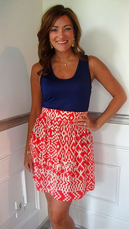 Steeplechase Coral Skirt