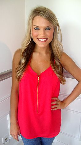 Zip Front Coral Tank