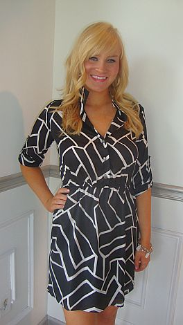 Black Geo Shirtdress