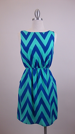 Pocketful of Chevrons Dress, Blue