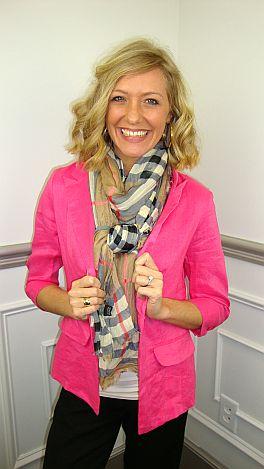 Crisp Linen Blazer, Pink