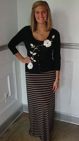Coffee Break Stripe Skirt