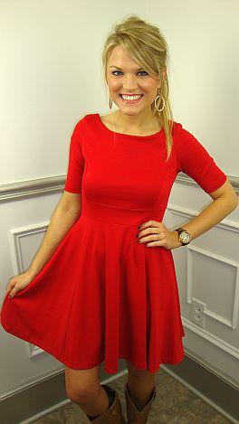 Ponte Princess Dress, Red
